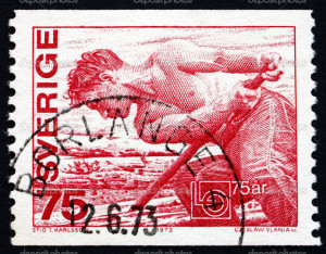 SWEDEN - CIRCA 1973: a stamp printed in the Sweden shows Worker, Confederation Emblem, 75th Anniversary of the Swedish Confederation of Trade Unions, circa 1973