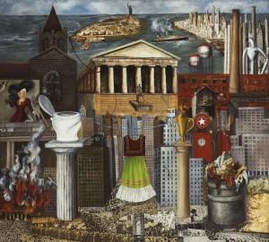 Frida Kahlo Il mio vestito è appeso là o New York, 1933 Olio e collage su masonite, cm 46 × 50 Monterrey, FEMSA © Banco de México Diego Rivera & Frida Kahlo Museums Trust, México D.F. by SIAE 2014